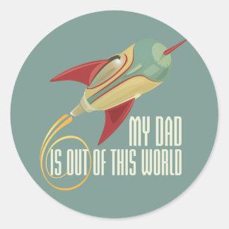 Mi papá Rocket Pegatina Redonda