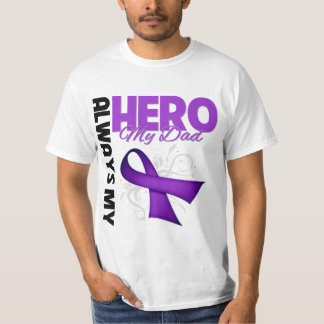 Mi papá siempre mi héroe - cinta púrpura playeras