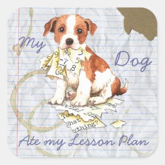 Mi párroco Russell Terrier comió mi plan de Calcomanias Cuadradas