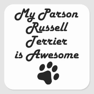 Mi párroco Russell Terrier es impresionante Calcomanias Cuadradas