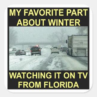 Mi parte preferida sobre el invierno que la mira pegatina cuadrada