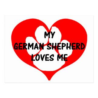 mi pastor alemán ama me.png tarjeta postal