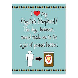 Mi pastor del inglés ama la mantequilla de cacahue tarjetas postales