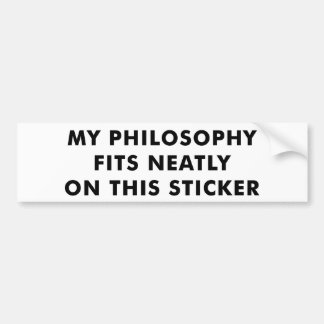 Mi pegatina para el parachoques de la filosofía pegatina para auto