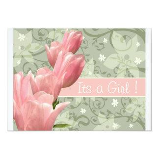 Mi pequeña niña verde B del rosa n del tulipán Invitación 12,7 X 17,8 Cm