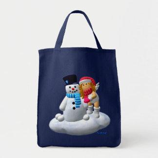 Mi pequeño ángel: Bolso del muñeco de nieve Bolsa Tela Para La Compra