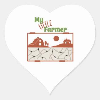 Mi pequeño granjero pegatina de corazón