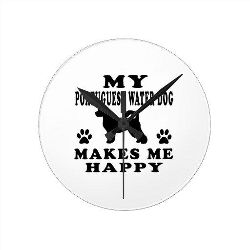 Mi perro de agua portugués me hace feliz reloj de pared
