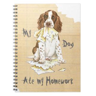 Mi perro de aguas de saltador inglés comió mi prep spiral notebooks
