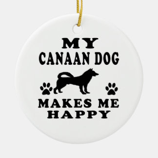 Mi perro de Canaan me hace feliz Adorno Redondo De Cerámica