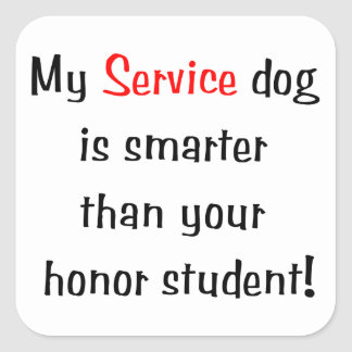 Mi perro del servicio es más elegante que su pegatina cuadrada