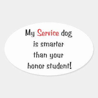 Mi perro del servicio es más elegante que su pegatina ovalada