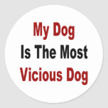 Mi perro es el perro más vicioso pegatinas redondas