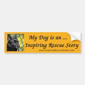 Mi perro es una historia inspiradora del rescate etiqueta de parachoque