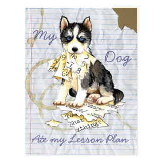 Mi perro esquimal comió mi plan de lección tarjeta postal