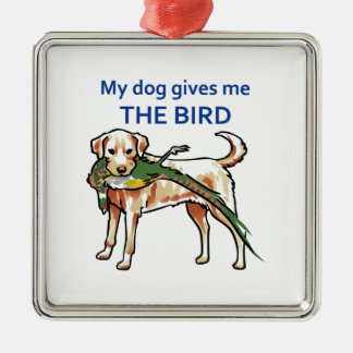 Mi perro me da el pájaro adorno cuadrado plateado