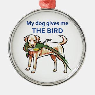 Mi perro me da el pájaro adorno redondo plateado
