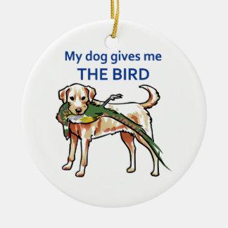 Mi perro me da el pájaro adorno redondo de cerámica