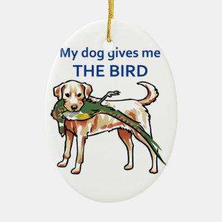 Mi perro me da el pájaro adorno ovalado de cerámica