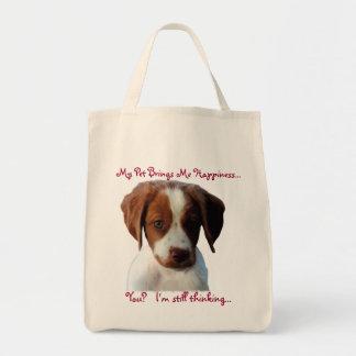 Mi perro me hace el bolso feliz bolsa tela para la compra