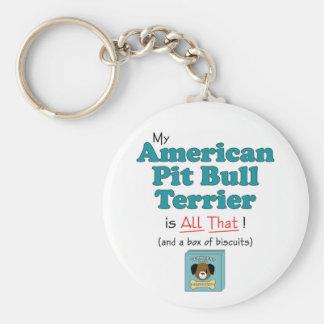 ¡Mi pitbull Terrier americano es todo el eso! Llavero Redondo Tipo Pin