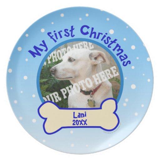 Mi placa de encargo del perro casero de la foto de plato para fiesta
