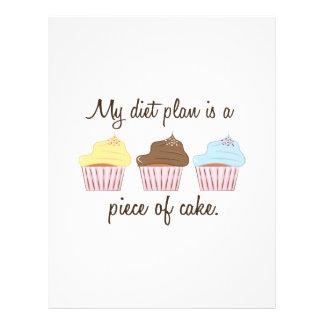 Mi plan de la dieta es un pedazo de torta plantilla de membrete