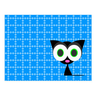 Mi postal modelada azul afortunado del gato negro