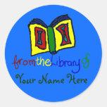 Mi primer Bookplate - azul Etiqueta Redonda