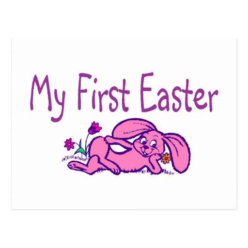 Mi primer conejito púrpura de Pascua pascua Postales