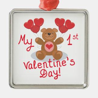 Mi primer día de San Valentín Adorno Navideño Cuadrado De Metal