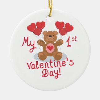 Mi primer día de San Valentín Adorno Navideño Redondo De Cerámica