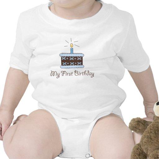 Mi primer muchacho de la torta de cumpleaños trajes de bebé