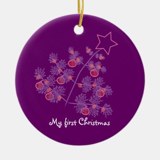 Mi primer navidad: Árbol púrpura Adorno Navideño Redondo De Cerámica