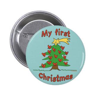 Mi primer navidad (diseño feliz del árbol) pin redondo 5 cm