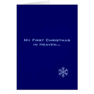 Mi primer navidad en copo de nieve del azul del tarjeta de felicitación