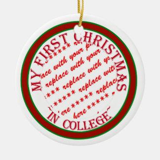 Mi primer navidad en plantilla del marco de la adorno navideño redondo de cerámica