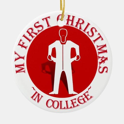 Mi primer navidad en universidad adorno navideño redondo de cerámica