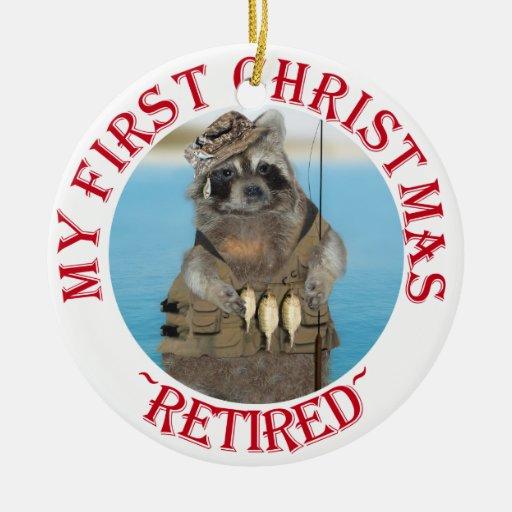 Mi primer navidad jubilado adorno redondo de cerámica