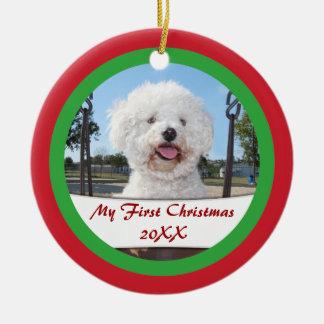 Mi primer navidad para el ornamento del mascota o adorno de navidad