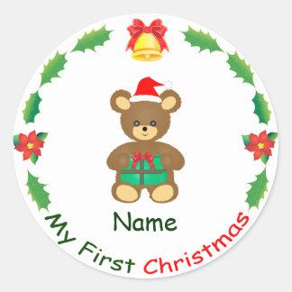 Mi primer navidad pegatina redonda