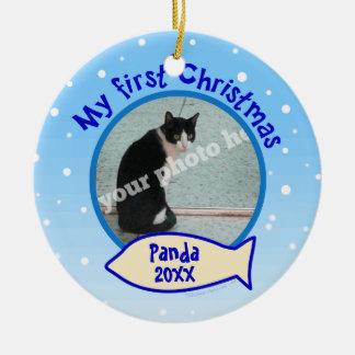 Mi primer navidad personalizó el ornamento del adorno navideño redondo de cerámica