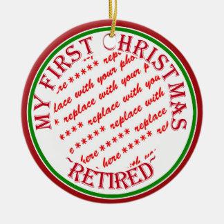 Mi primer navidad retiró el marco de la foto adorno navideño redondo de cerámica