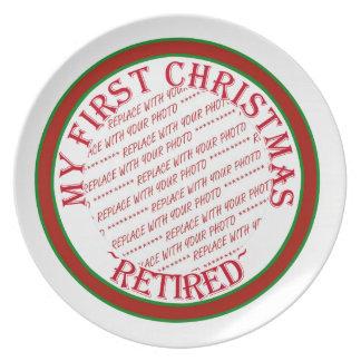 Mi primer navidad retiró la plantilla del marco de plato para fiesta
