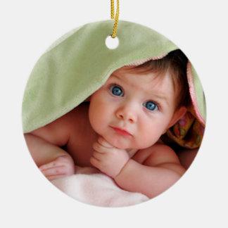 Mi primer ornamento de la foto del navidad adorno redondo de cerámica