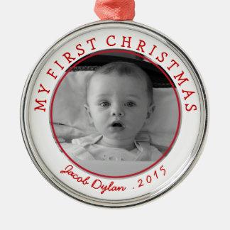 Mi primer recuerdo del ornamento de la foto del adorno navideño redondo de metal