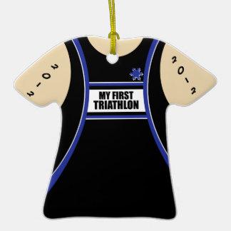 Mi primer Triathlon Adorno De Cerámica En Forma De Playera