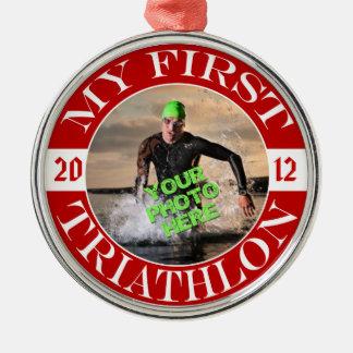 Mi primer Triathlon - foto adaptable y año Ornamentos De Navidad