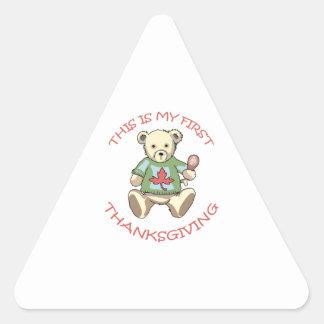 Mi primera acción de gracias pegatina triangular