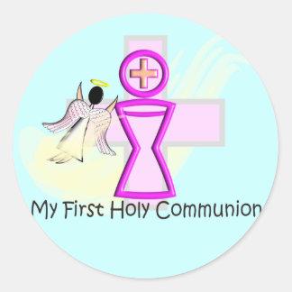 Mi primera cáliz y ángel de la comunión santa pegatina redonda